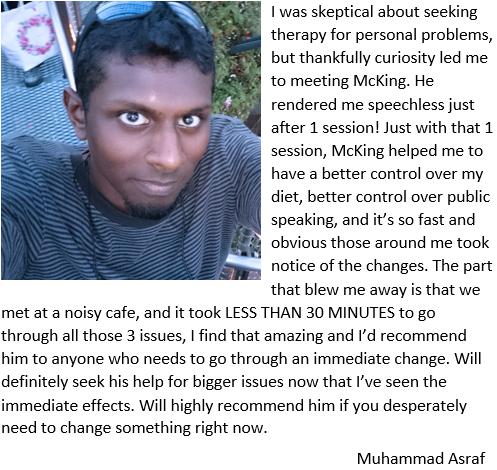 Muhammad Asraf NLP Testimonial for Lee McKing