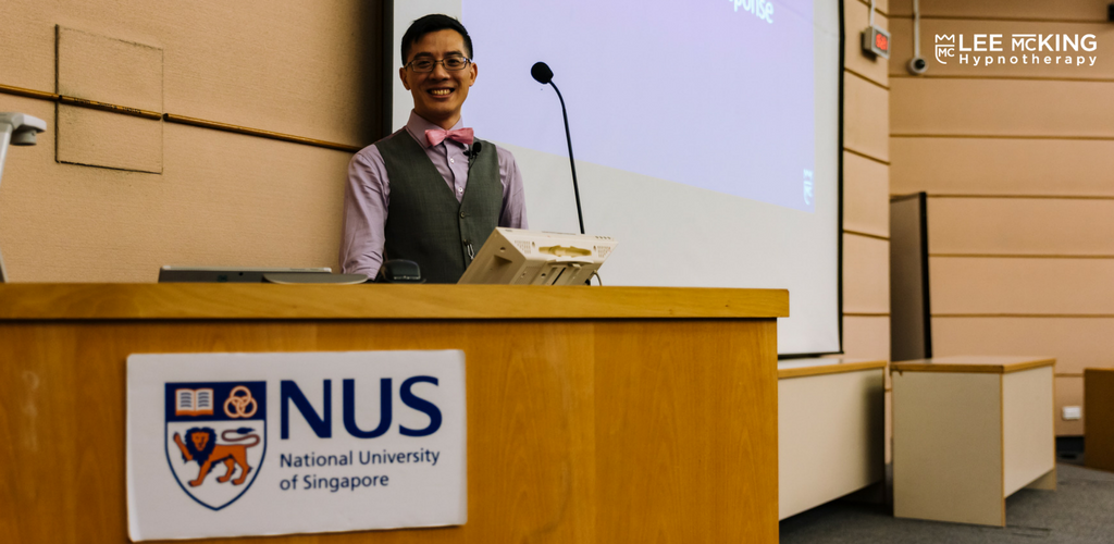 Lee McKing was given the opportunity to speak to 100 students at NUS