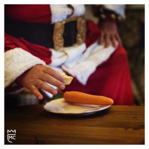 Lee McKing and Santa eating